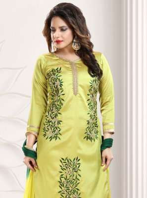 Silk Yellow Embroidered Trendy Salwar Kameez