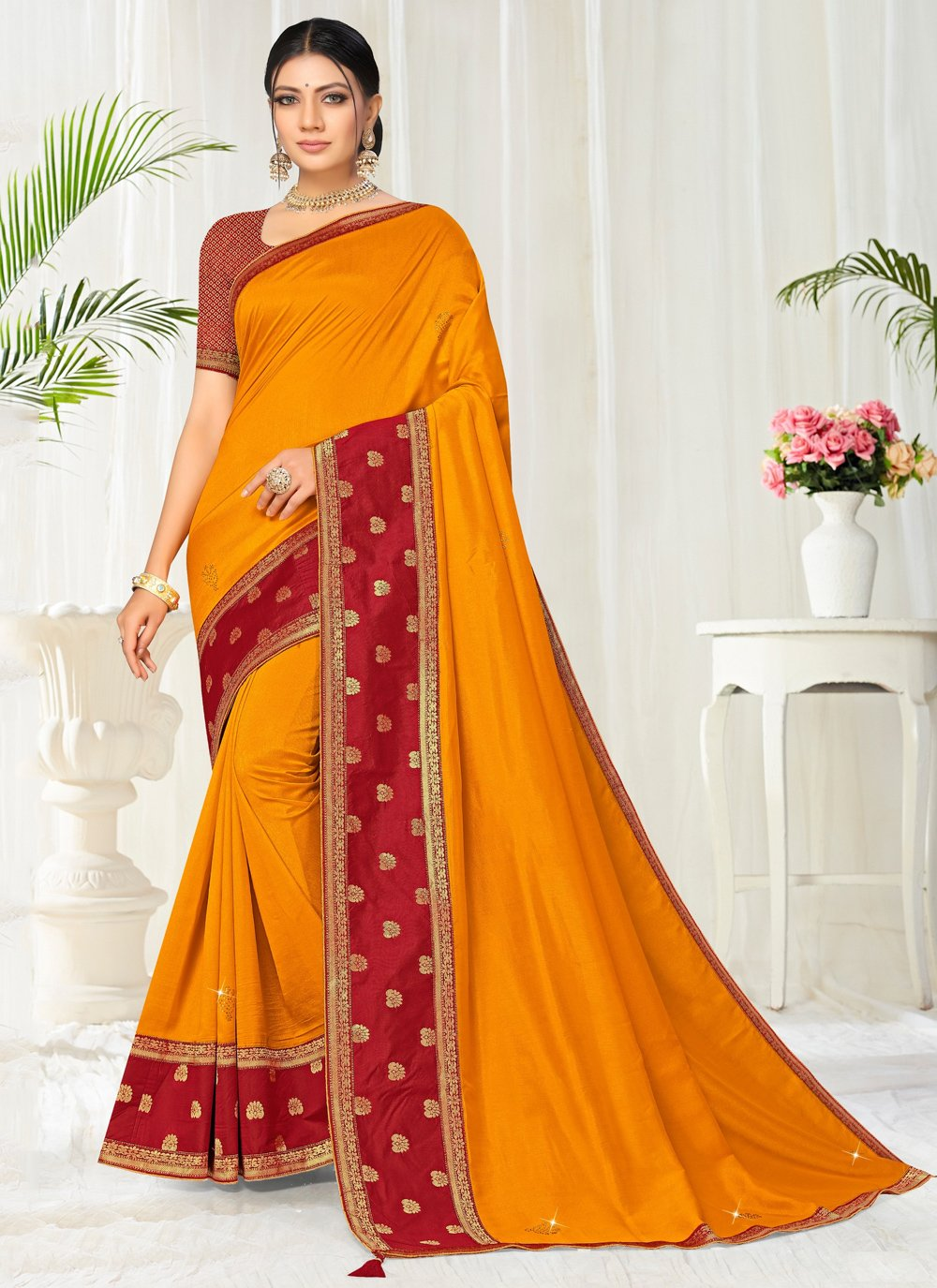 Silk Yellow Lace Classic Saree