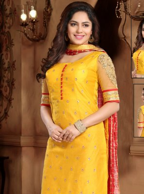 Silk Yellow Lace Trendy Salwar Suit