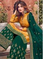 Silk Yellow Palazzo Designer Salwar Kameez