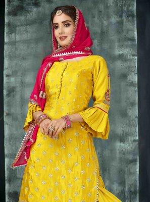 Silk Yellow Palazzo Salwar Kameez
