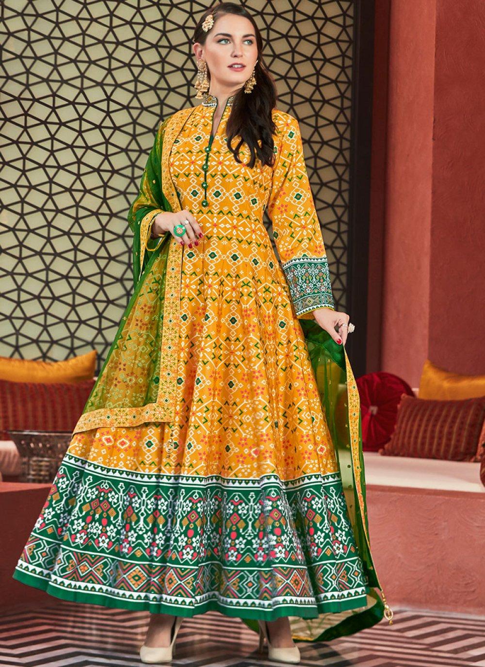 Silk Yellow Patola Print Readymade Anarkali Salwar Suit