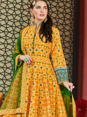 Silk Yellow Patola Print Readymade Anarkali Salwar Suit