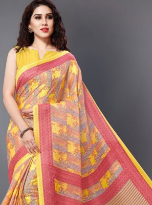 Silk Yellow Printed Printed Saree