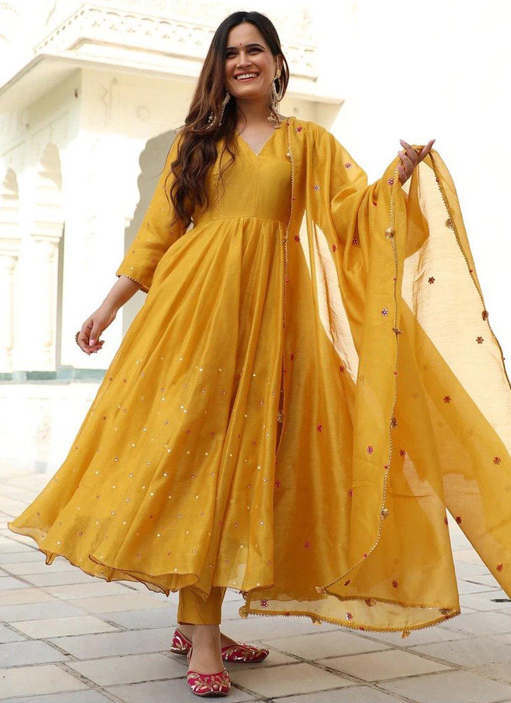 Silk Yellow Trendy Gown