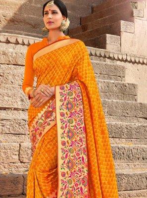 Silk Yellow Weaving Classic Saree