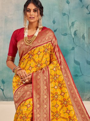 Silk Yellow Weaving Traditional Saree