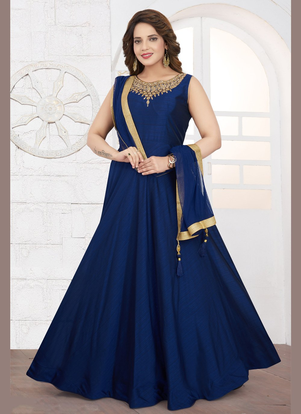 Silk Zari Anarkali Salwar Suit