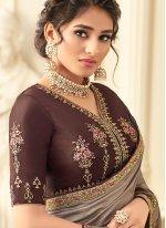 Silk Zari Brown Trendy Saree