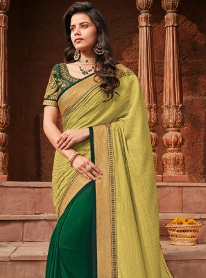 Silk Zari Half N Half  Saree in Green