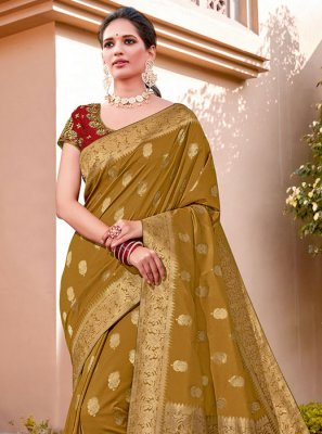 Silk Zari Mustard Trendy Saree