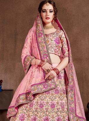Silk Zari Pink A Line Lehenga Choli