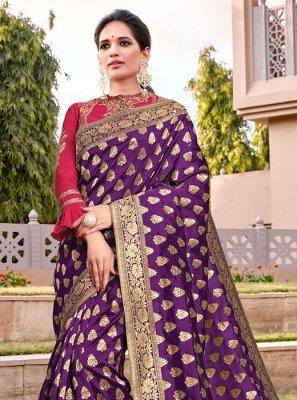 Silk Zari Traditional Designer Saree in Purple