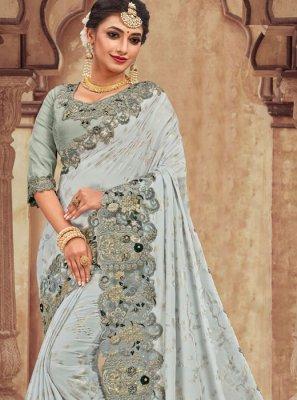 Silver Applique Trendy Saree
