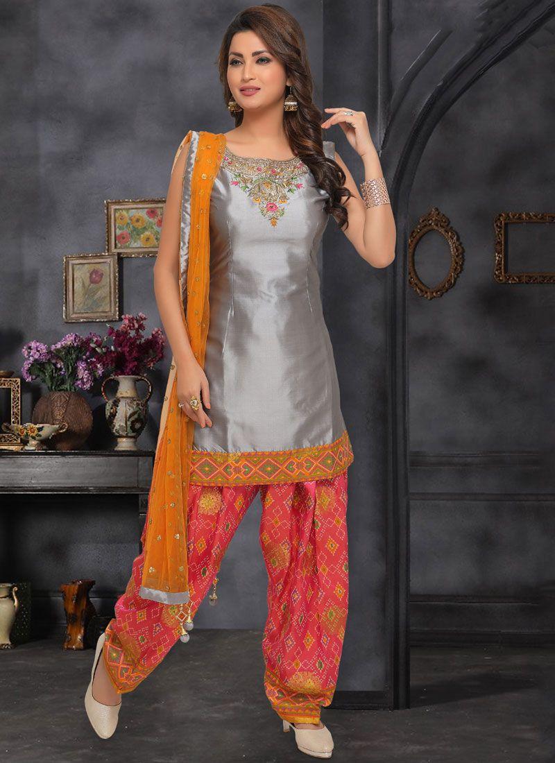 Silver Art Silk Salwar Suit