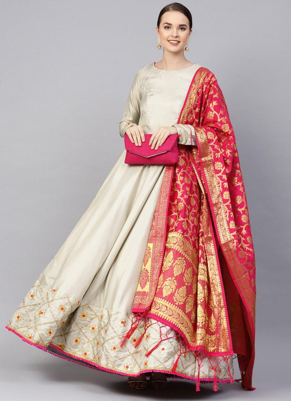 Silver Georgette Satin Anarkali Salwar Kameez