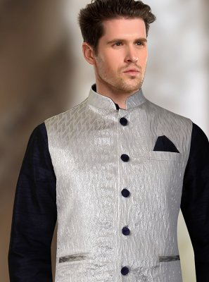 Silver Jacquard Machine Embroidery  Nehru Jackets