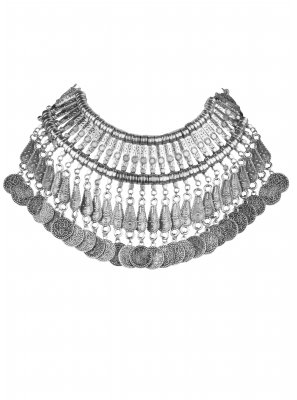 Silver Stone Work Ceremonial Necklace Set