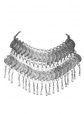 Silver Stone Work Necklace Set
