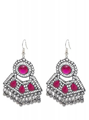 Silver Stone Work Sangeet Ear Rings