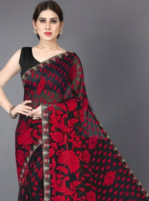 Stone Brasso Black and Red Designer Saree