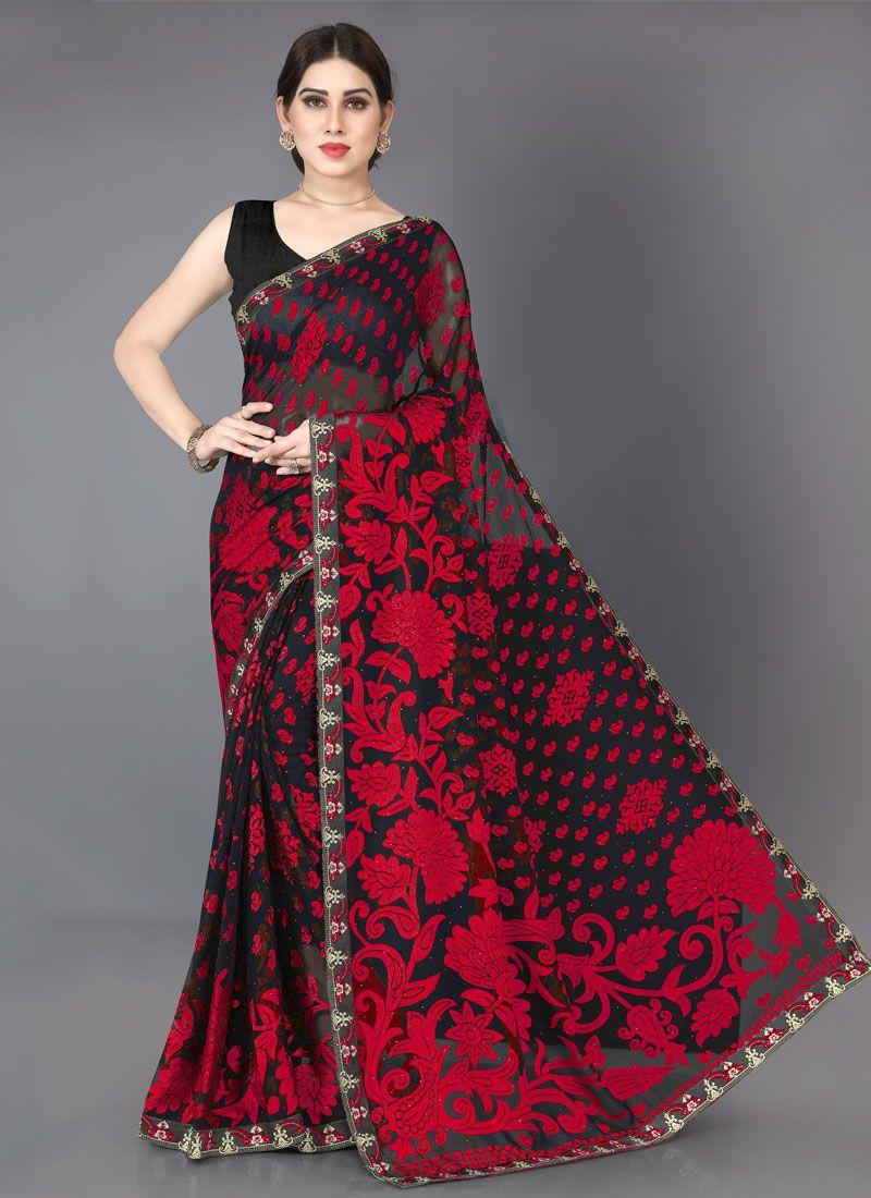Stone Brasso Black and Red Designer Saree
