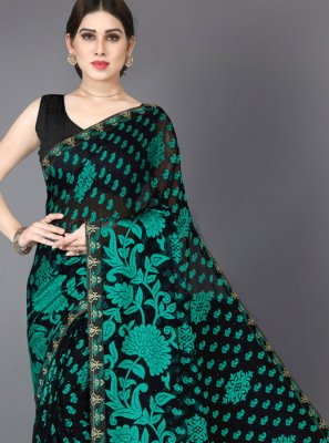 Stone Brasso Trendy Saree in Black and Green