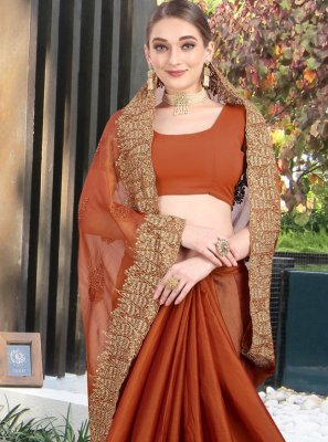 Stone Faux Chiffon Brown Designer Contemporary Saree