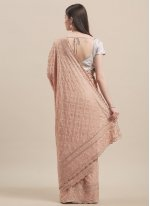 Stone Faux Georgette Traditional Saree in Brown