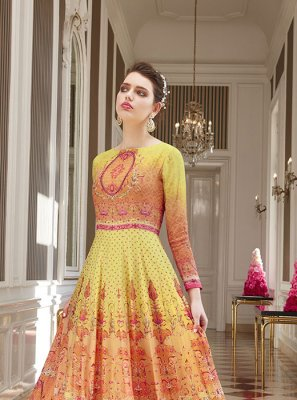 Stone Georgette Pink and Yellow Salwar Suit