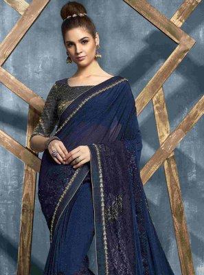Stone Net Designer Saree in Navy Blue