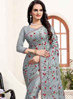 Stone Satin Silk Traditional Designer Saree in Grey