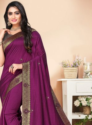 Stone Silk Classic Saree in Purple