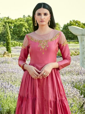 Stone Silk Designer Gown in Pink