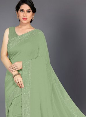 Stone Silk Green Silk Saree