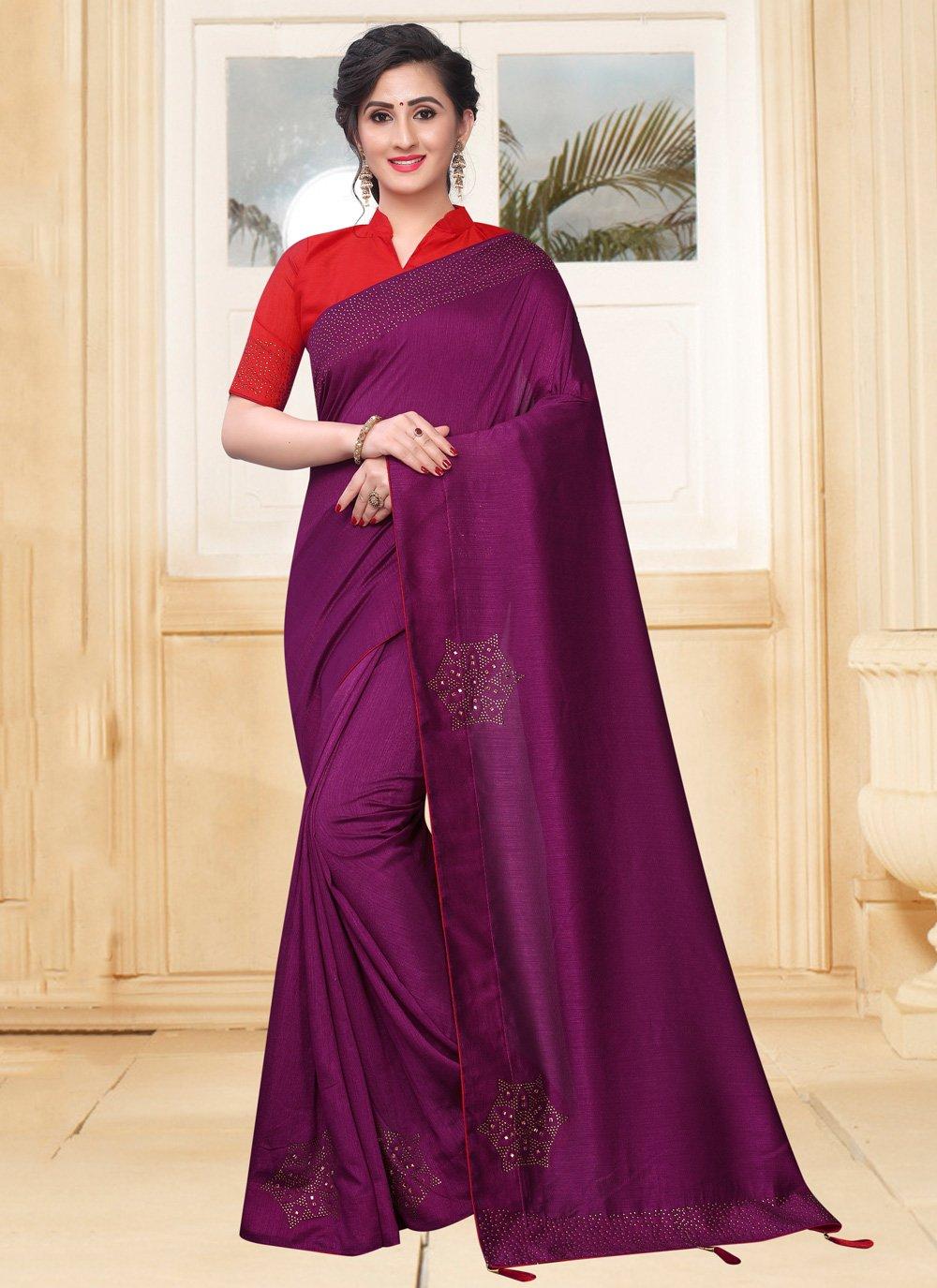 Stone Silk Purple Designer Saree