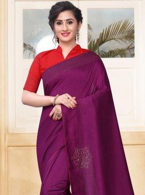 Stone Silk Purple Designer Saree