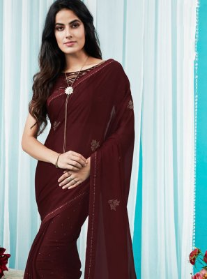 Stone Silk Silk Saree in Maroon