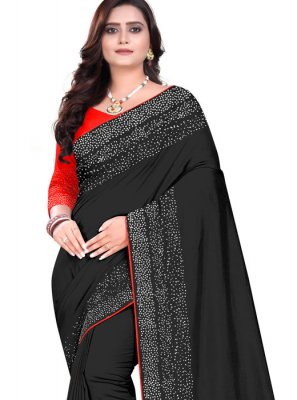 Stone Work Art Silk Black Designer Saree