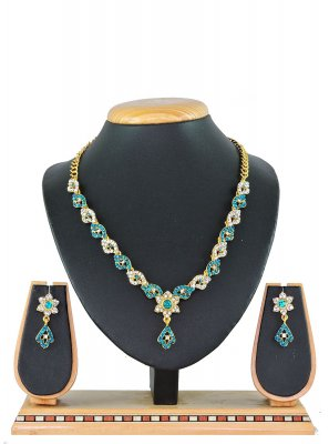 Stone Work Blue Necklace Set