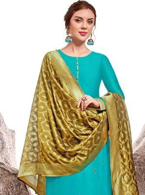 Stone Work Chanderi Trendy Salwar Suit in Blue