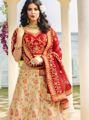 Stone Work Cream Silk A Line Lehenga Choli