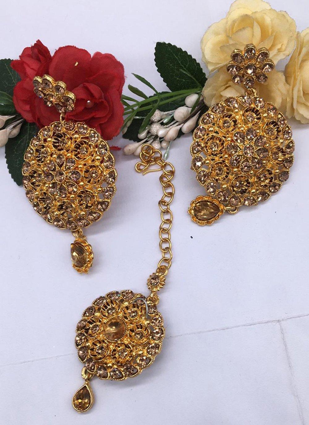 Stone Work Gold Ear Rings