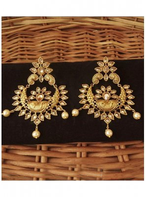 Stone Work Gold Ear Rings