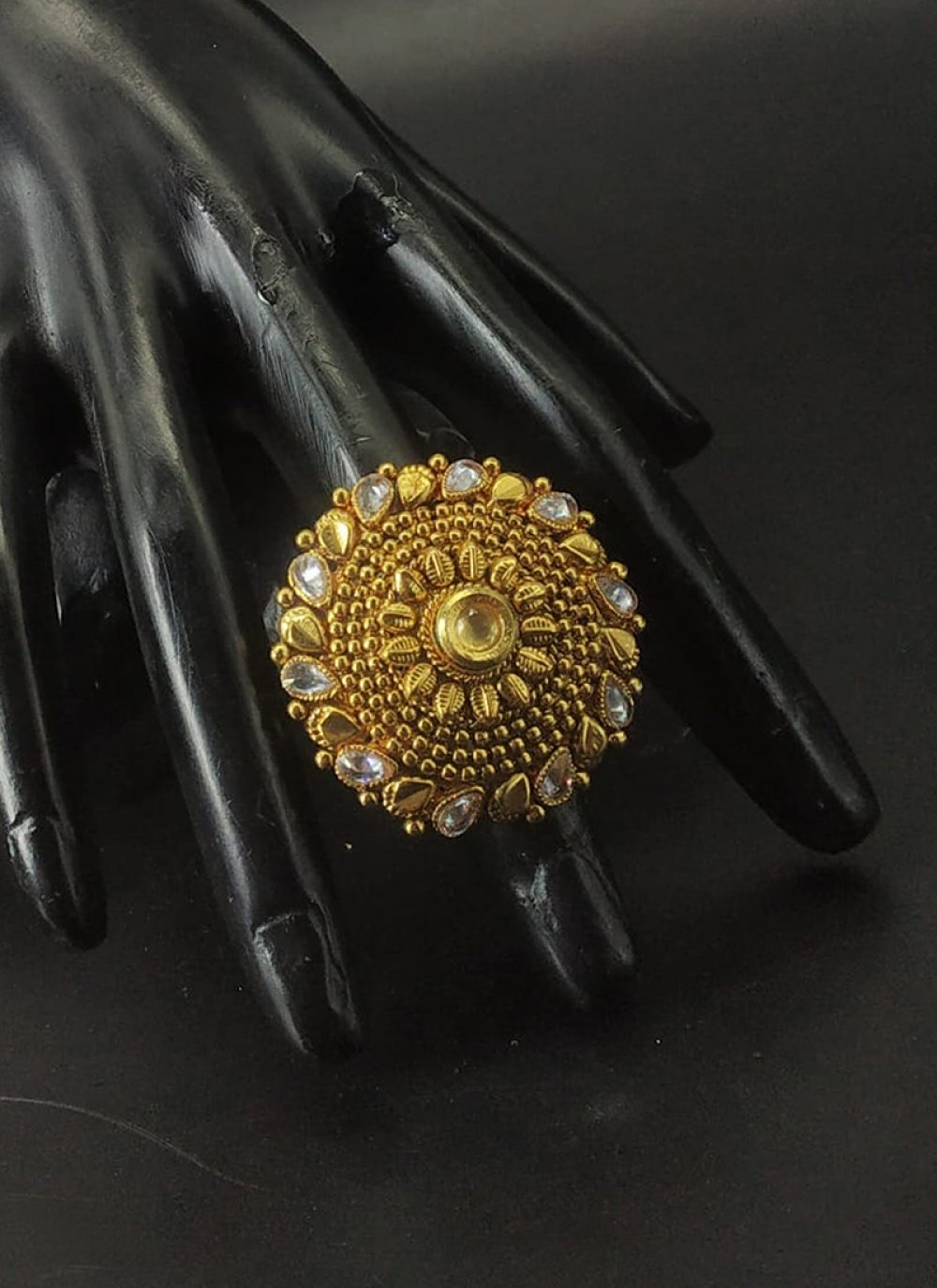 Stone Work Gold Finger Ring