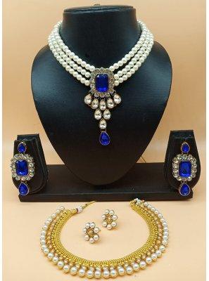 Stone Work Jewellery Set in Blue