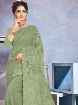 Stone Work Net Designer Saree in Green