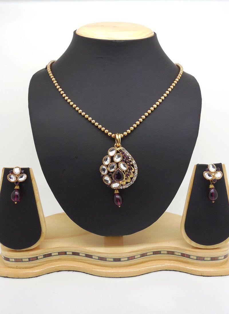 Stone Work Purple Pendant Set