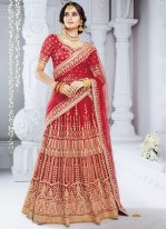 Stone Work Red Bhagalpuri Silk Lehenga Choli