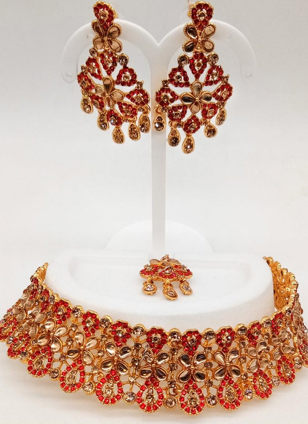 Stone Work Red Necklace Set
